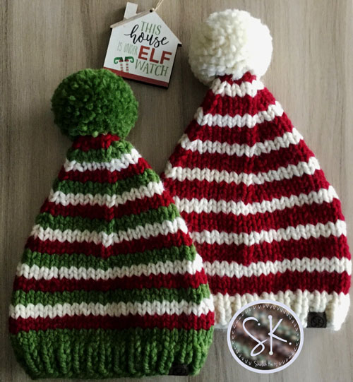 Elf Knit Hats in Red, Green and White stripes