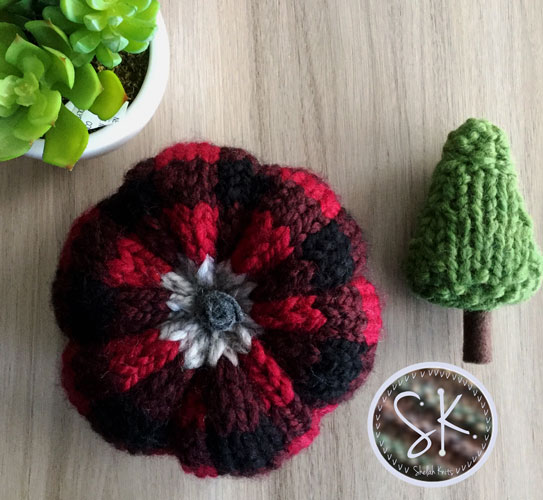 Plaid Knit Pumpkin