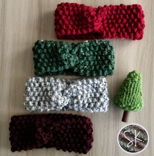 Seed Stitch Headbands in Red and Green Hues