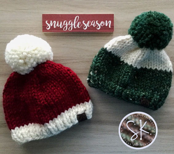 Christmas Baby Hats in Cranberry and Kale