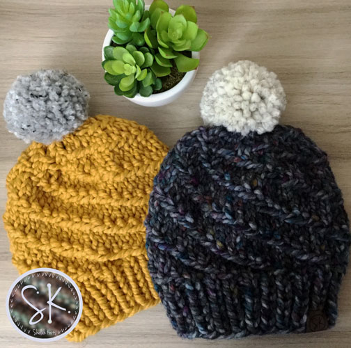 The Whirlstream Beanie, pattern by @woolandknits, in Mustard and Abalone