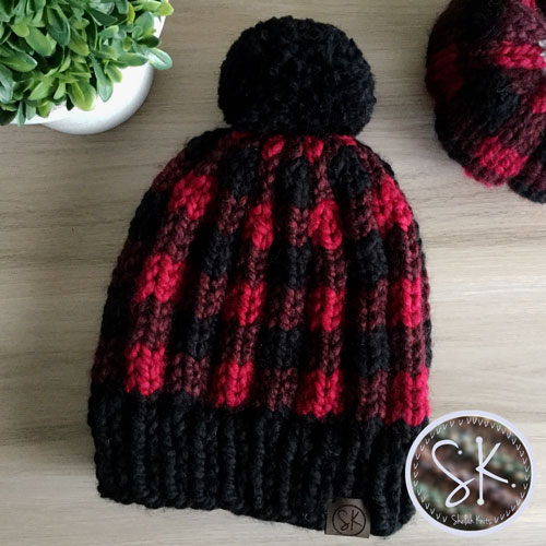 Buffalo Plaid Knit Hat in Red, Claret and Black