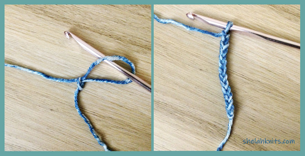 [1] To start your foundation ch, make a slip knot, ch 12.